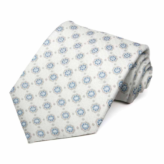 Blue and Off White Major Medallion Wool/Silk Necktie