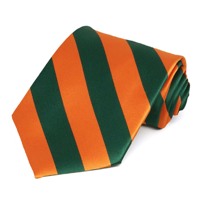 Florida Orange and Dark Green Extra Long Striped Tie