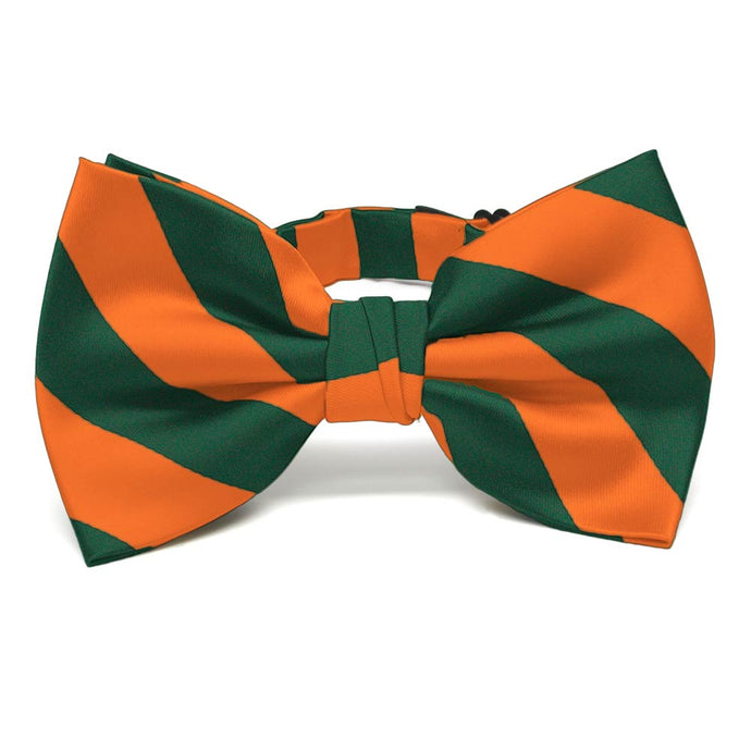 Florida Orange and Dark Green Striped Bow Tie