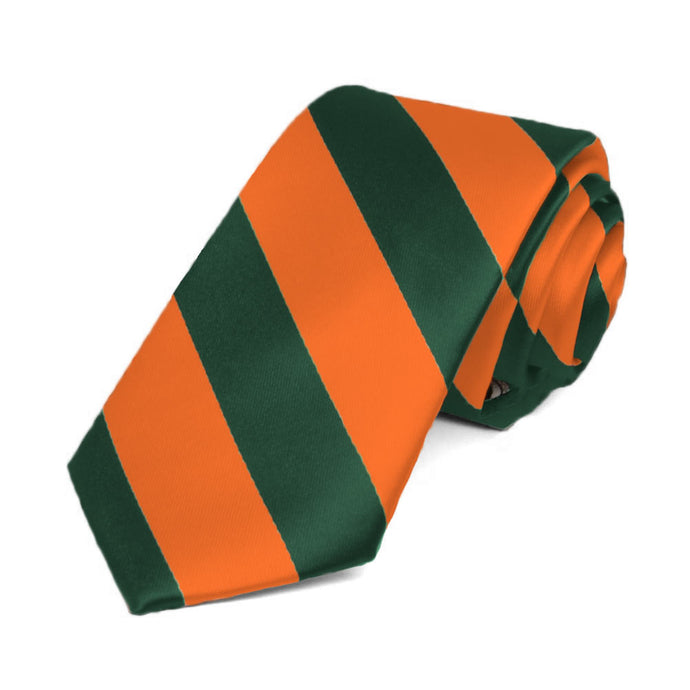 Florida Orange and Dark Green Striped Slim Tie, 2.5
