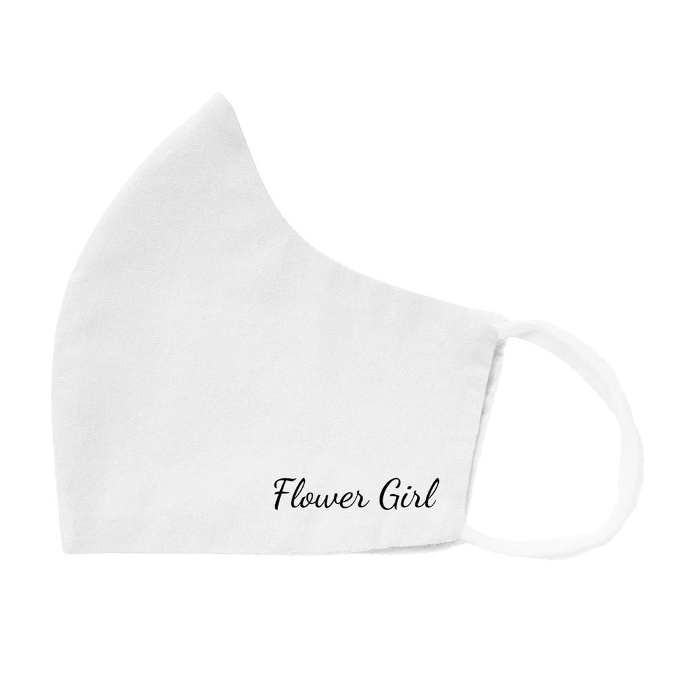 White cloth face mask with flower girl design