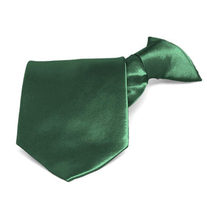 Forest Green Solid Color Clip-On Tie
