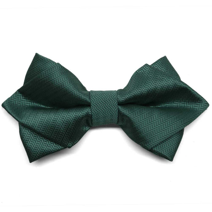 Forest Green Herringbone Diamond Tip Bow Tie
