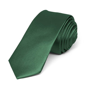 "Forest Green Skinny Solid Color Necktie, 2"" Width"