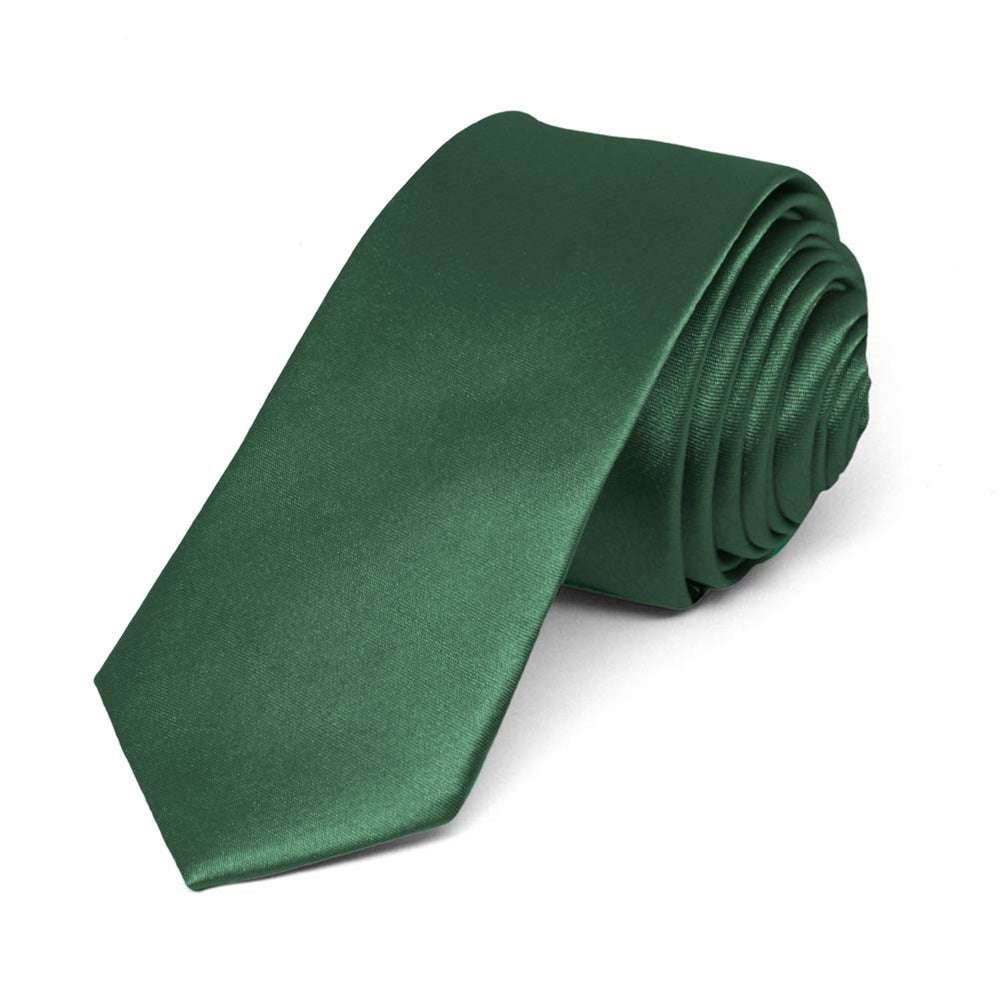 Forest Green Skinny Solid Color Necktie, 2