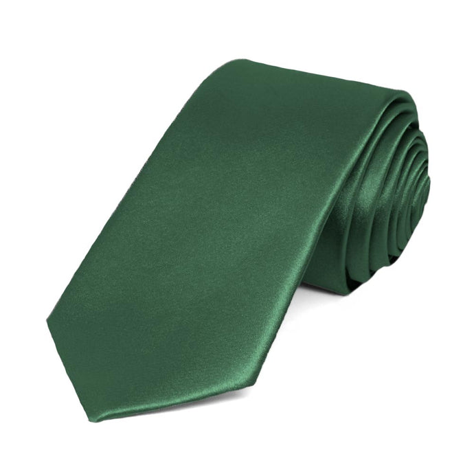 Forest Green Slim Solid Color Necktie, 2.5