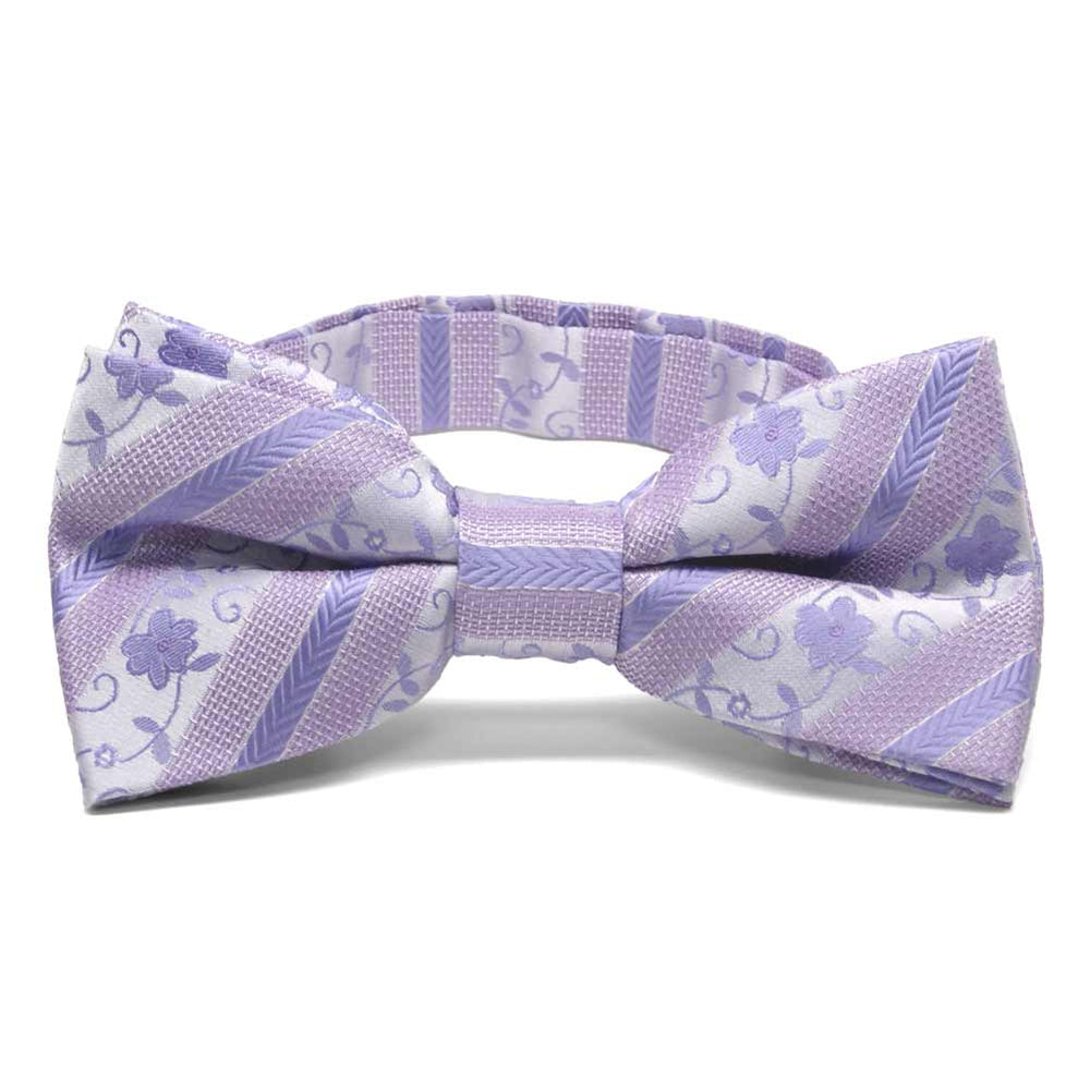 Freesia Anna Floral Stripe Band Collar Bow Tie