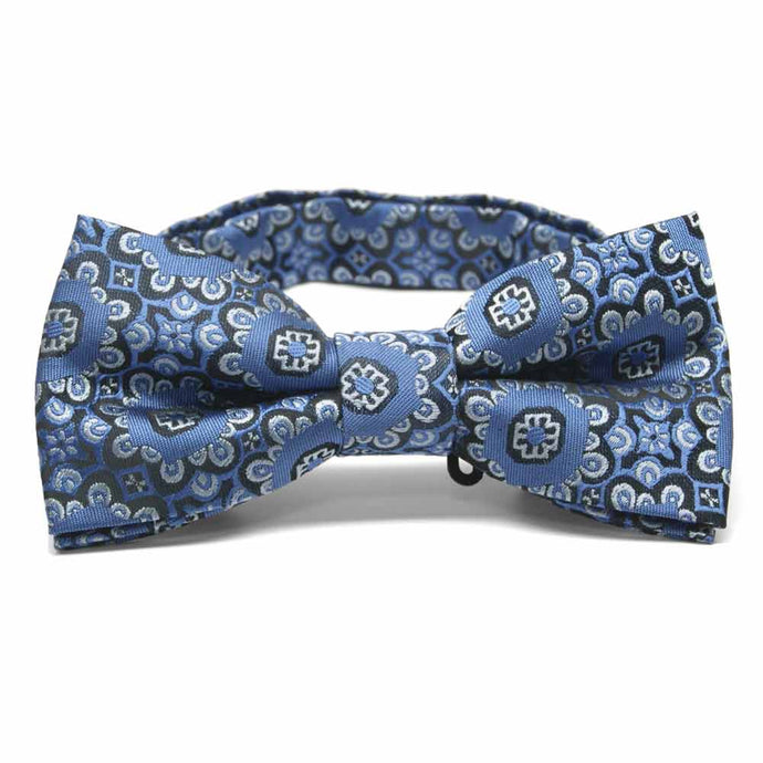 French Blue Emma Floral Pattern Band Collar Bow Tie