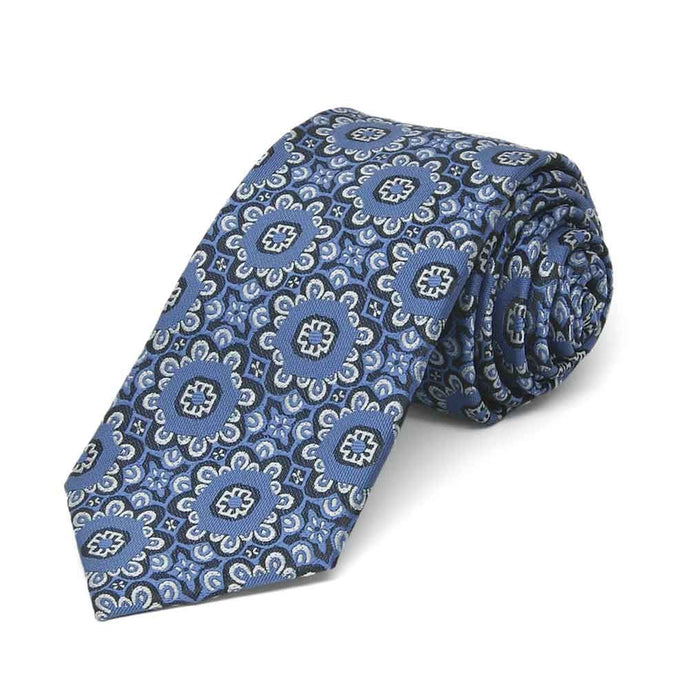 French Blue Emma Floral Pattern Slim Necktie, 2.5