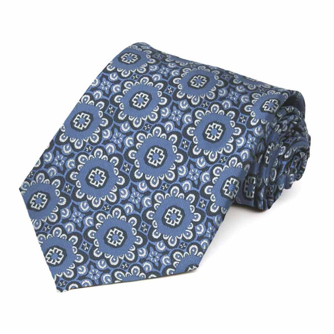 French Blue Emma Floral Pattern Extra Long Necktie
