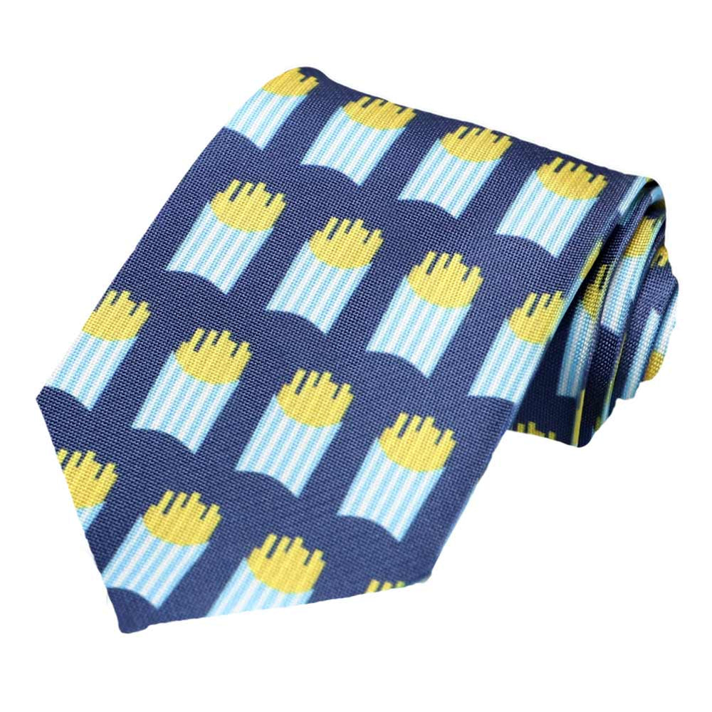 French fries on a dark blue tie.