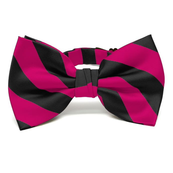 Fuchsia and Black Striped Bow Tie