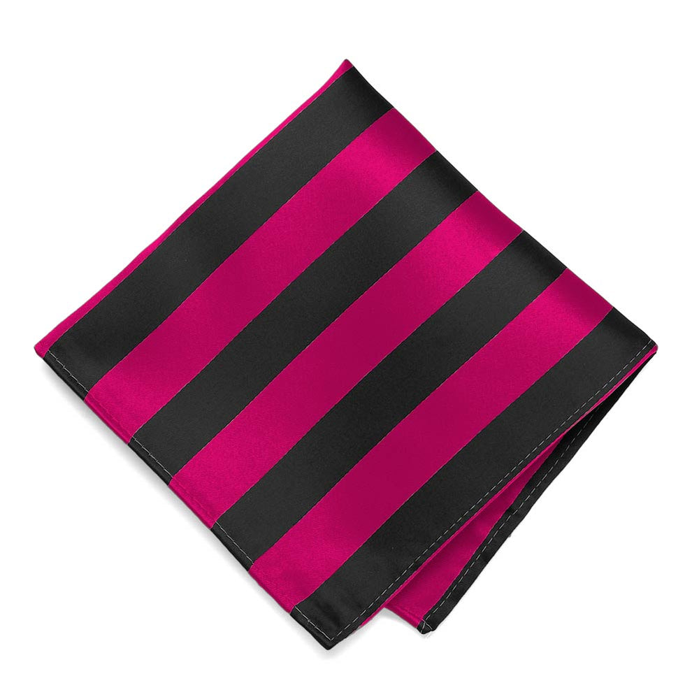 Fuchsia and Black Striped Pocket Square