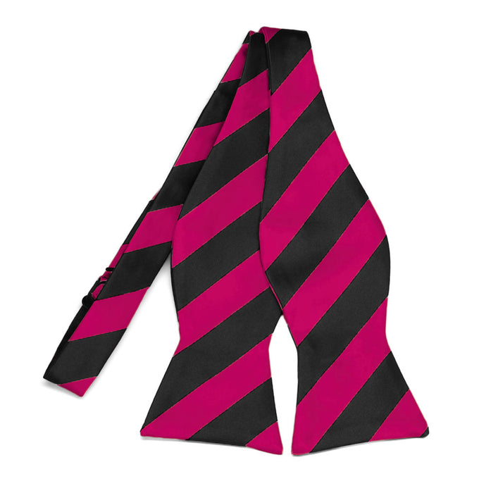 Fuchsia and Black Striped Self-Tie Bow Tie