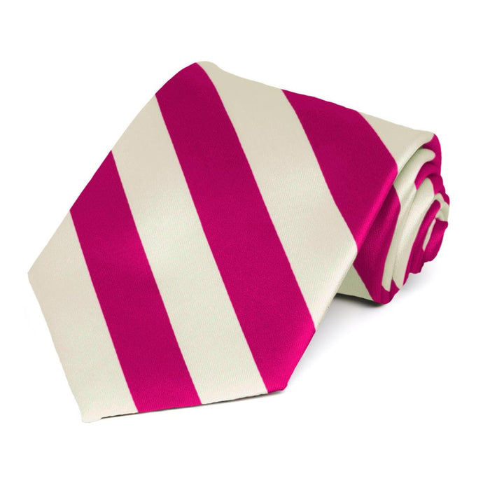 Fuchsia and Cream Striped Tie