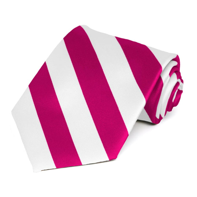 Fuchsia and White Striped Tie
