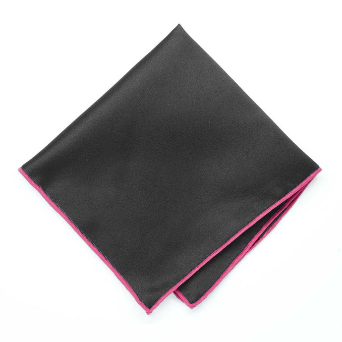 Fuchsia Tipped Black Pocket Square