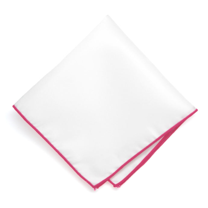 Fuchsia Tipped White Pocket Square