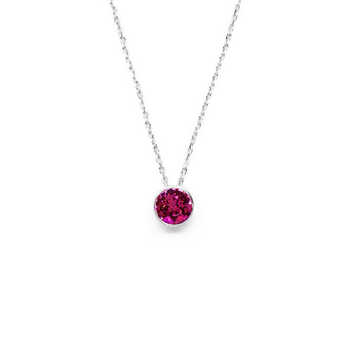 Fuchsia Round Crystal Necklace