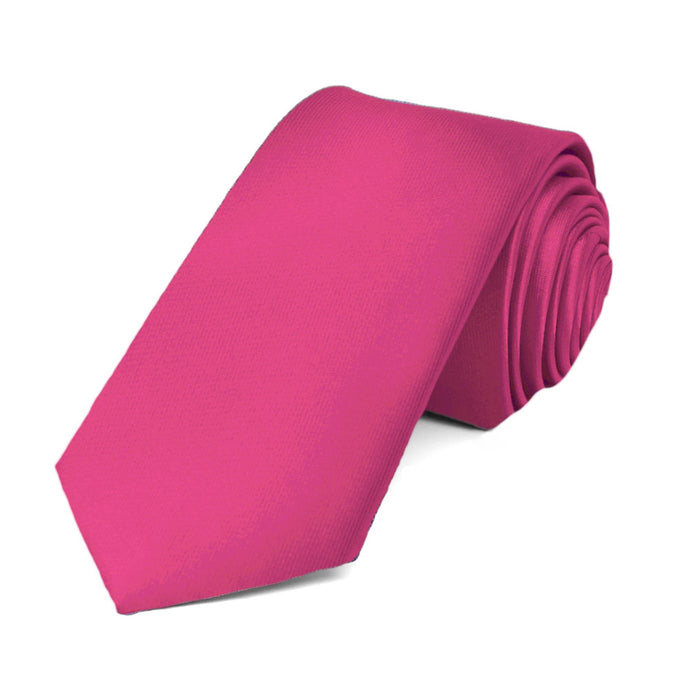 Fuchsia Slim Solid Color Necktie, 2.5