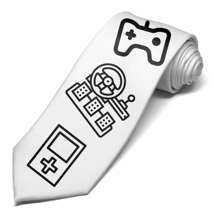 Video game coloring icons on a white tie.