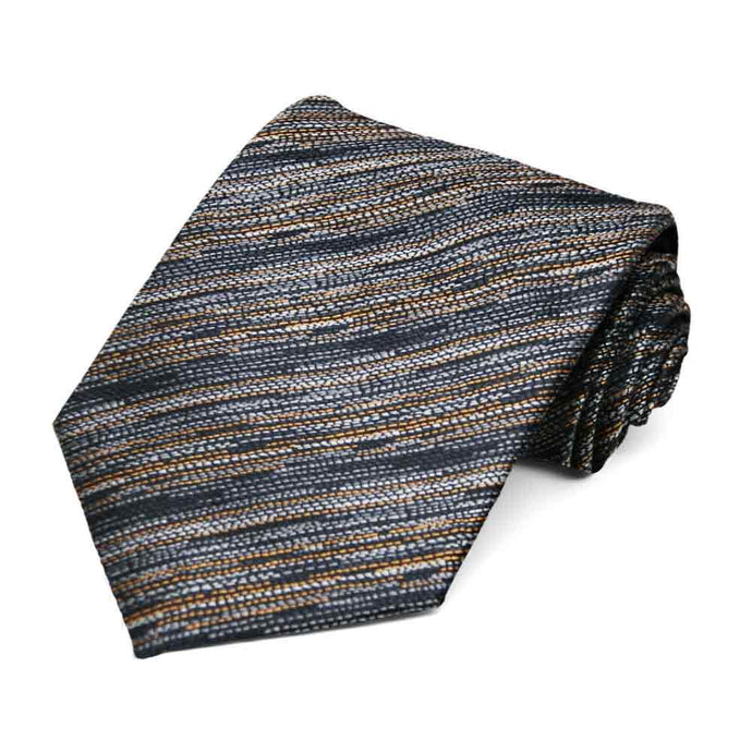 Gray and Gold Lionel Striped Necktie