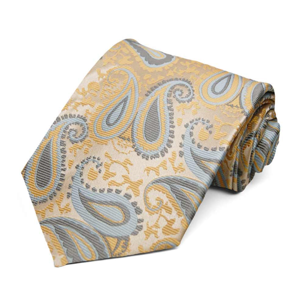 Pale Gold and Powder Blue Krieger Paisley Extra Long Necktie