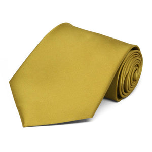 Gold Extra Long Solid Color Necktie