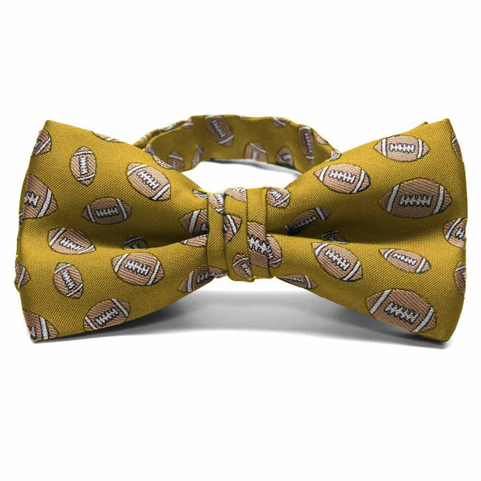 Gold Football Bow Tie