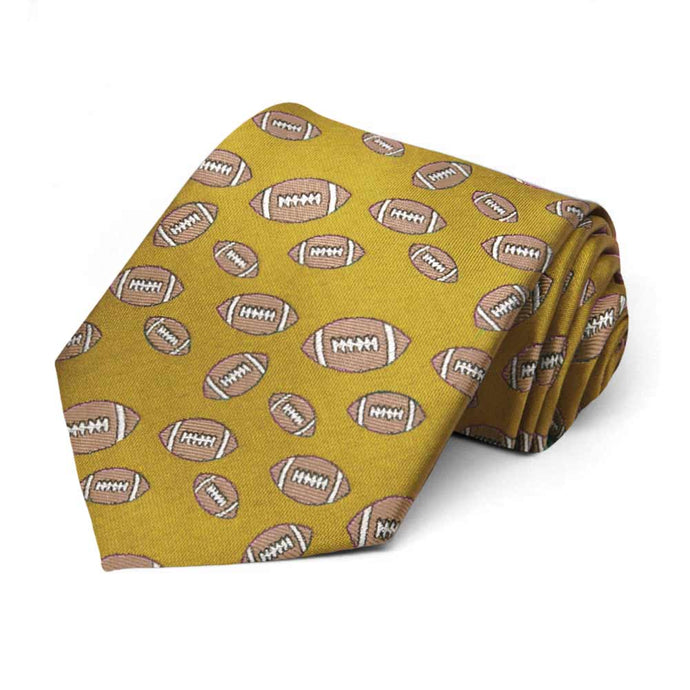 Gold Football Necktie