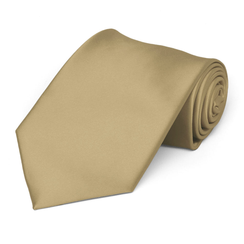 Golden Champagne Premium Extra Long Solid Color Necktie