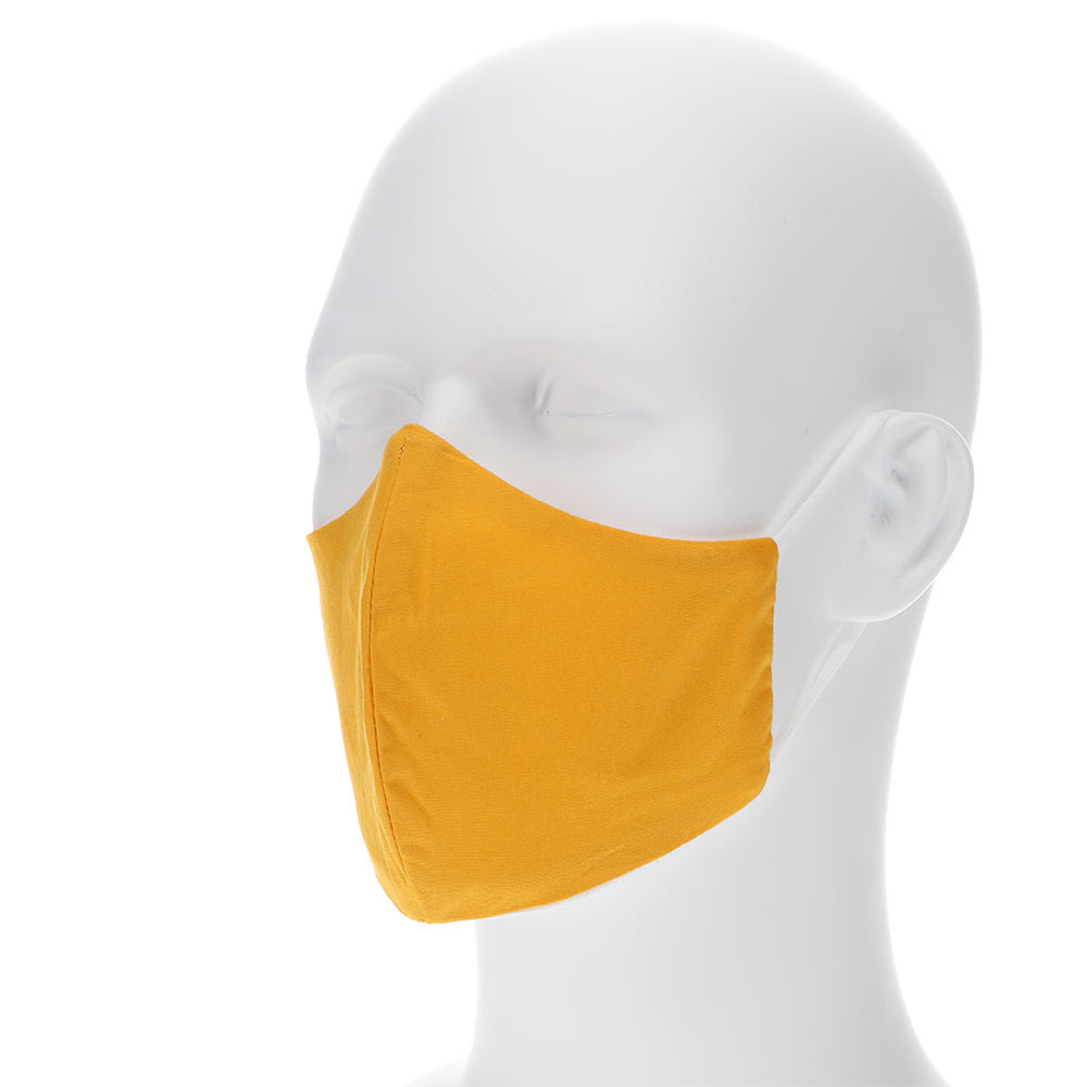 Golden yellow face mask on a mannequin with filter pocket