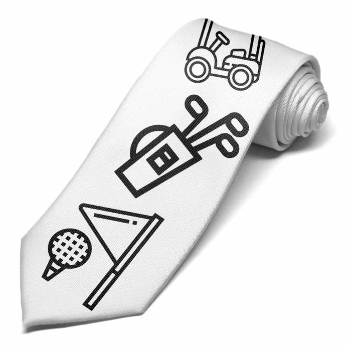 Golf coloring icons on a white tie.