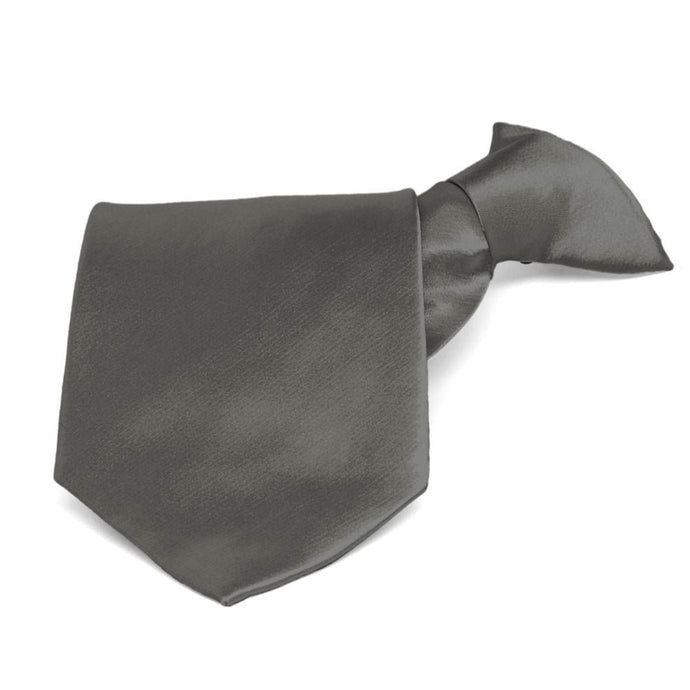 Graphite Gray Solid Color Clip-On Tie