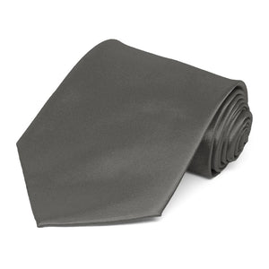 Graphite Gray Extra Long Solid Color Necktie