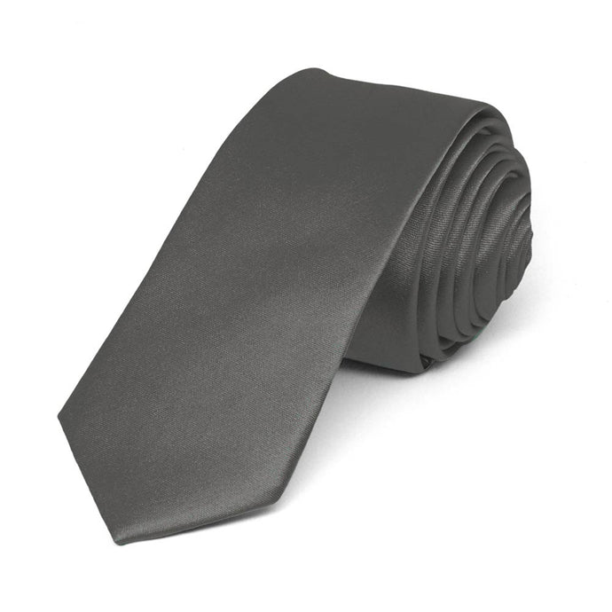 Graphite Gray Skinny Solid Color Necktie, 2
