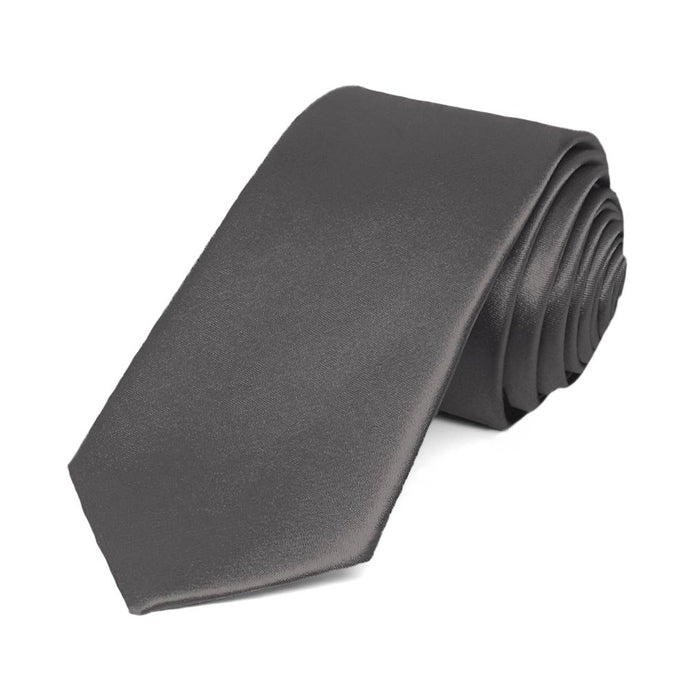Graphite Gray Slim Solid Color Necktie, 2.5