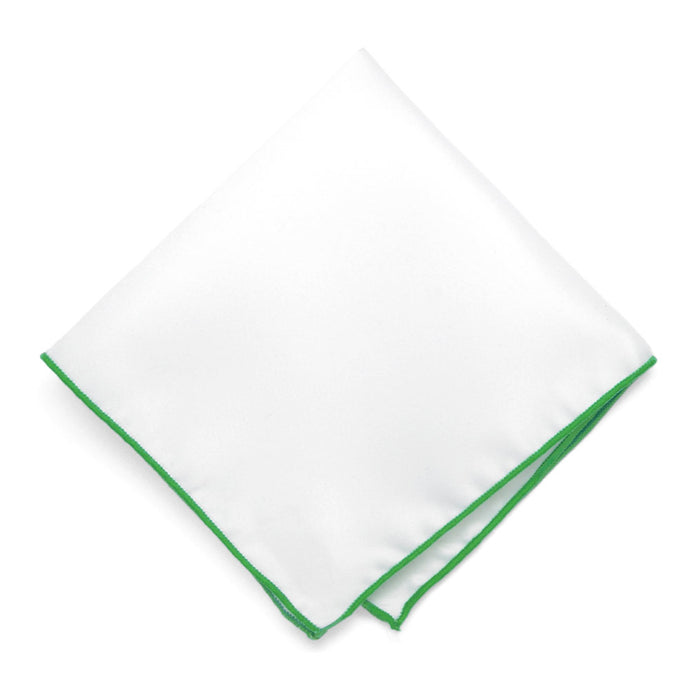 Grass Green Tipped White Pocket Square