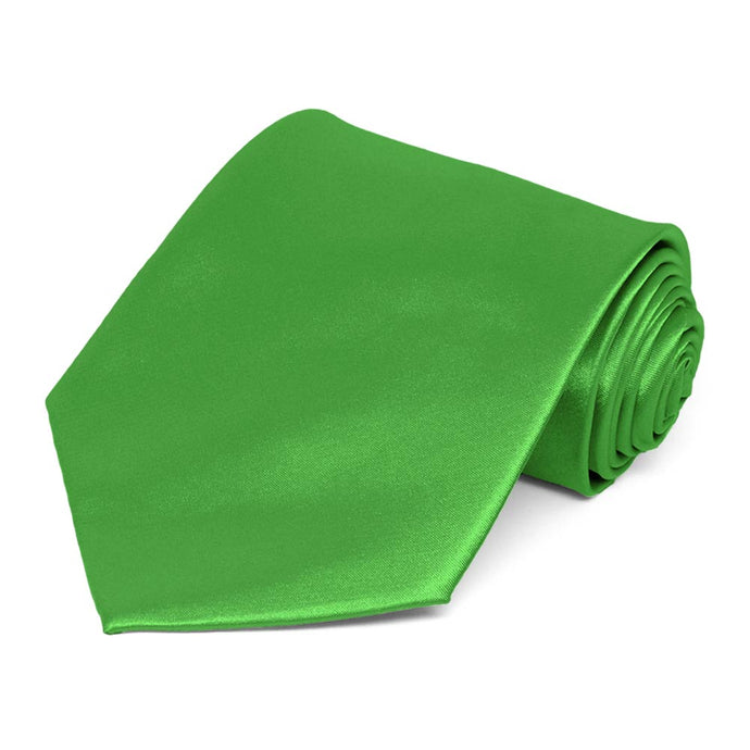 Grass Green Extra Long Solid Color Necktie