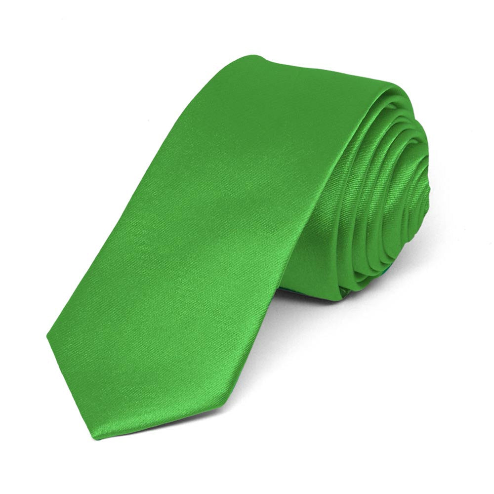 Grass Green Skinny Solid Color Necktie, 2