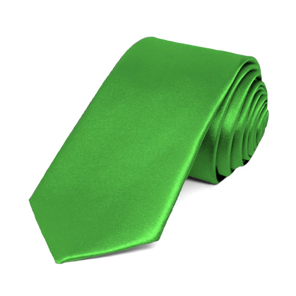 Grass Green Slim Solid Color Necktie, 2.5