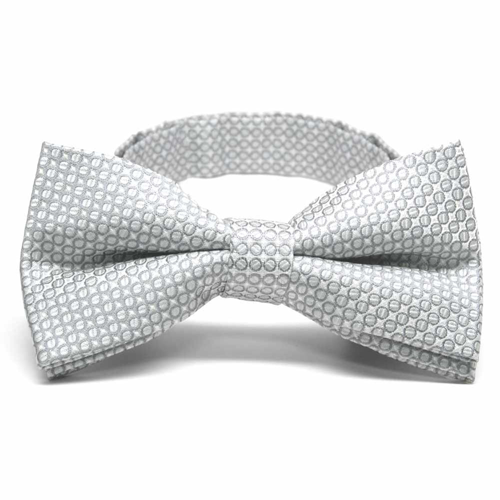Soft Gray Henry Grain Pattern Band Collar Bow Tie