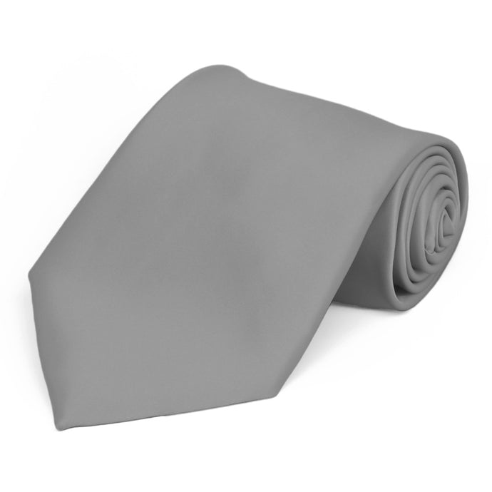 Gray Premium Extra Long Solid Color Necktie