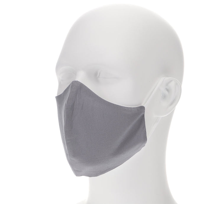 Gray face mask on a mannequin with filter pocket