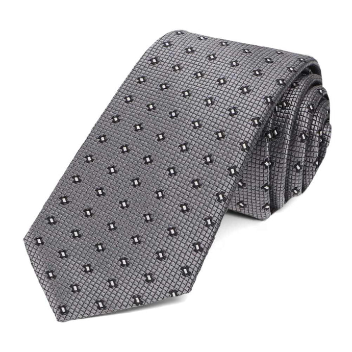 Dark Gray Hoffner Dotted Slim Necktie