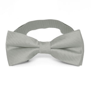 Gray Herringbone Silk Bow Tie