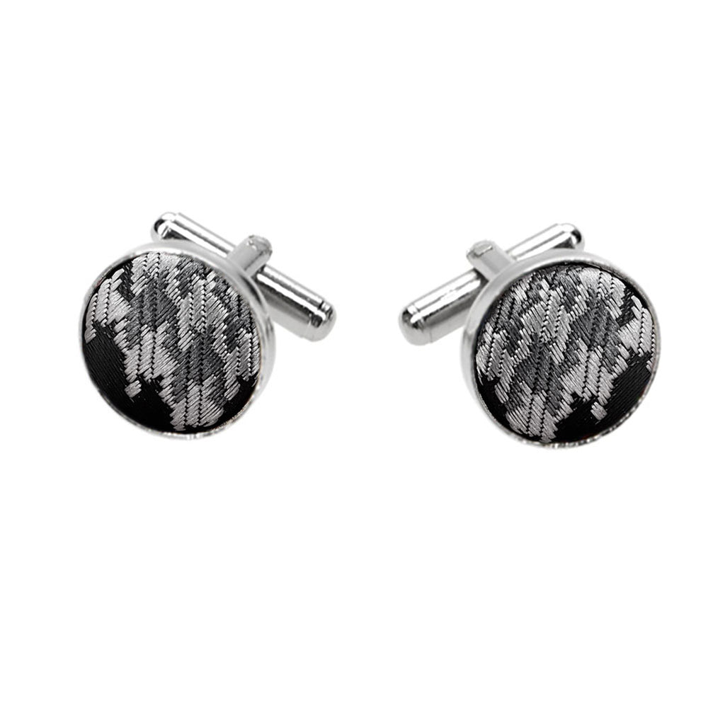 Gray Houndstooth Fabric Cufflinks