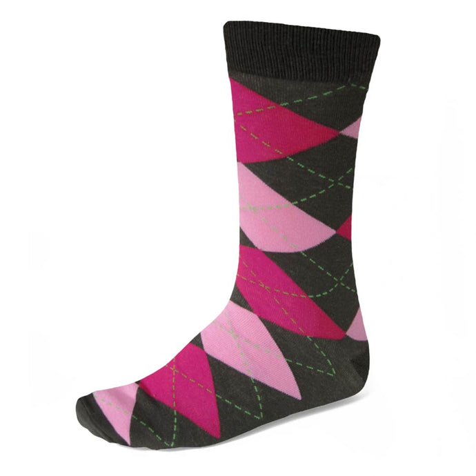 Men's Graphite Gray and Pink Argyle Socks