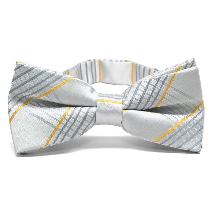 Soft Gray Jeffrey Plaid Band Collar Bow Tie
