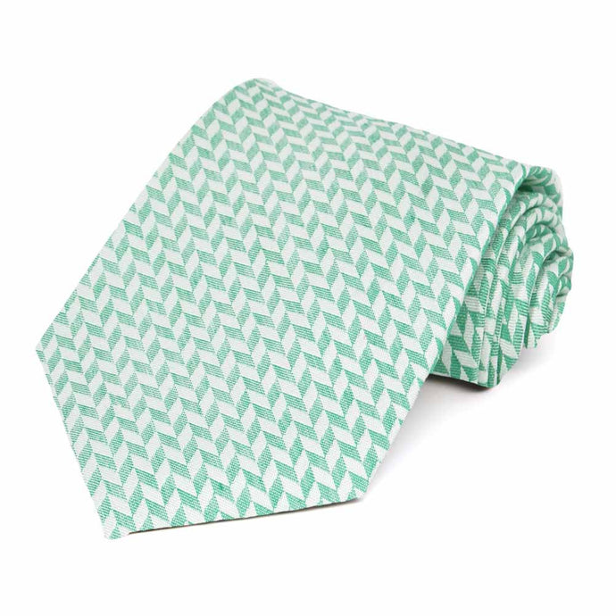 Green and White Sir Herringbone Silk/Viscose Necktie
